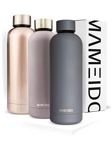 MAMEIDO Trinkflasche Edelstahl - Rauch Grau - 500ml,0,5lThermosflasche - auslaufsicher, BPA frei -schlankeisolierte Wasserflasche,leichtedoppelwandige Isolierflasche