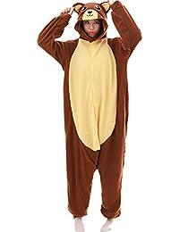 SALICEHB Braunbär Tier Cartoon Einteilige Pyjamas Langärmliges Fleece Paar Pyjamas Herbst Und Winter Männer Und Frauen Home Service