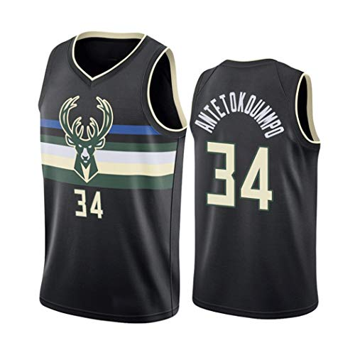 Giannis Antetokounmpo 34# Basketball Jersey, Männer Milwaukee Bucks Basketball-Trikot, NBA Swingman ärmel-Trainings-Kleidung, in voller Größe (Color : Schwarz, Size : XXL)