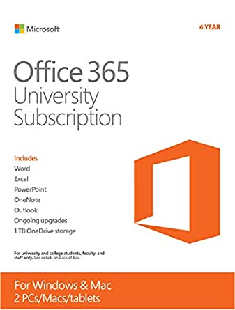 Microsoft Office 365 University 4-year Subscription (Student Validation Required)  [PC/Mac Download]