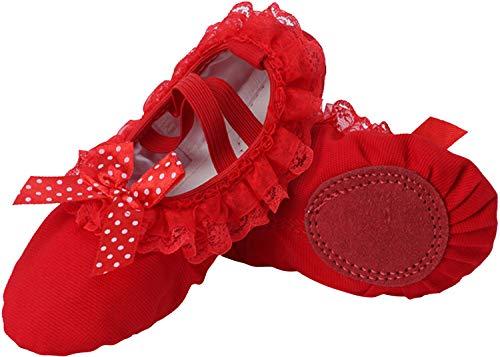 JOINFREE Mädchen Ballett Schuhe Frauen Tanzschuhe Flache Tanzschuhe Slipper Leinwand Vamp Leder Sohle (Rot Bogen, 39 EU) (Ballett Flach Kind Schuhe)