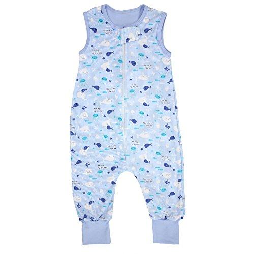 TupTam Unisex Babyschlafsack mit Beinen Unwattiert, Farbe: Wale/Blau, Größe: 92-98