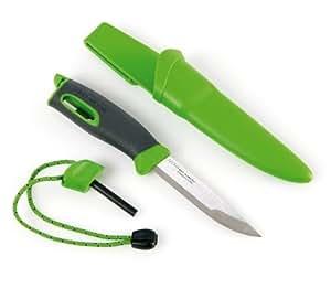 Light My Fire Couteau suédois avec pierre à feu Lame en acier inoxydable Sandvik de 9,5cm Allume-feu Exercice Plein air Sport Fitness Vert