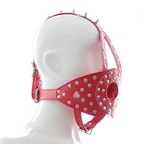 BESTOYARD Erwachsenen Paar Spielzeug Fetisch Leder Sling Maske Bondage Knebel Maske mit Abnehmbaren Gag Ball für SM Liebhaber (rot)