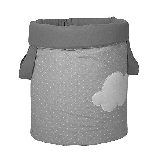 Funny Baby 623209 - Juguetero acolchado 30 x 40 cm, diseño motas y nubes, color gris