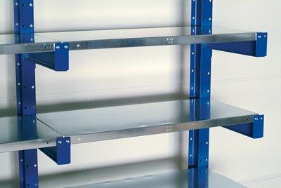 Kragarmregal mit StahlFachböden, Grundfeld einseit ig, 5 Ebenen, Nutztiefe 800 mm, BxTxH 1000x920x200