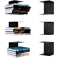 APPUCOCO Book Shelf Wall Mounted Metal Invisible Book Shelves 3 Piece Per Pack with Screws & Plastic Anchors Included…