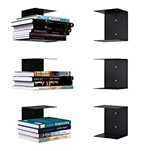 APPUCOCO Book Shelf Wall Mounted Metal Invisible Book Shelves 3 Piece Per Pack with Screws & Plastic Anchors Included (Compatible with Hard Cover Small and Medium Size Books) - Black