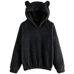 OSYARD Sweatshirt Femme Pulls Fourrure À Capuche Sweat-Shirt Manches Longues Dessin Animé Bear Broderie Duex Fleece Tops Blouse Hoodie Hood Lâche Vestes Plus de Couleur (Noir,Medium)