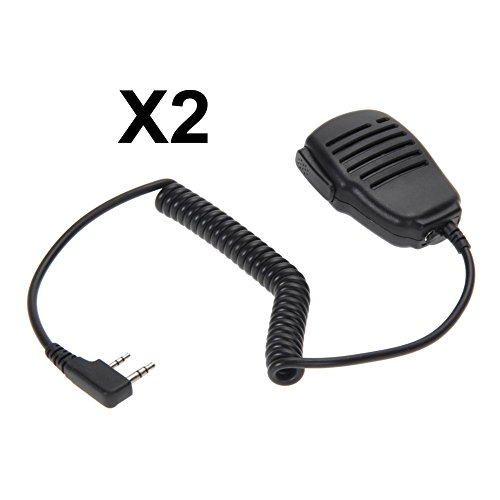 Asiproper Micro main Haut-parleur microphone pour Talkie Walkie Baofeng etc. Two Way radio 2Pcs