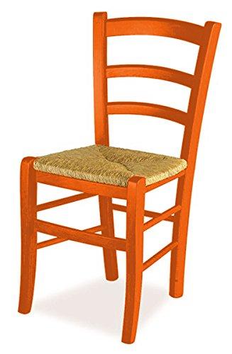 Set 2 sedie venezia - anilina arancio sedile paglia