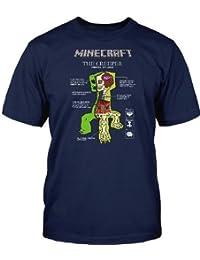 Minecraft - anatomía del creeper - camiseta del videojuego - algodón - azul marino