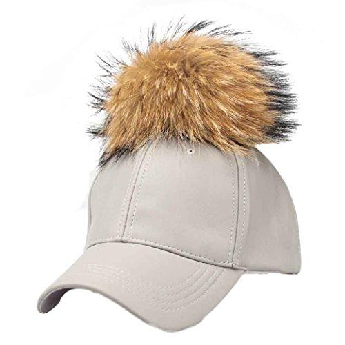 Ouneed® Nouveau Femmes Raccoon Fur Balle Hip Hop Fashion Baseball Cap Casual Gris