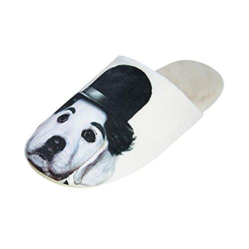 LOSORN ZPY Herren Tier Kuschelige Hund Slippers Winter Plüsch Hausschuhe Weicher Warm Pantoffeln Hund mit Hut