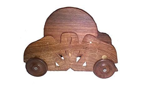 india bigshop Regalo di giorno del padre Mano nautico intagliato sottobicchieri bere legno Set di 6 in un Car Holder sagomato con Brass Inlay