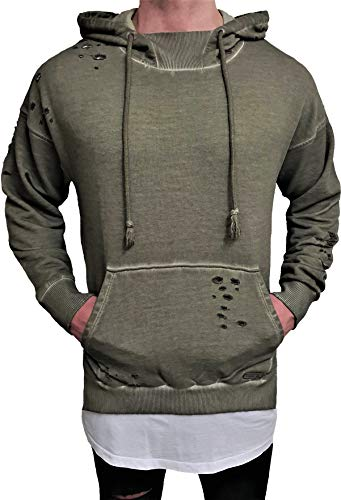 Oversize Hoodie Designer Sweat Jacke Cardigan Hoody Pullover Shirt Herren Camouflage Longsleeve m NEU Kapuzen-Pullover Long Sweatjacke Sweatshirt Pulli Longshirt Body Skater Swag deep Neck (M, Khaki)