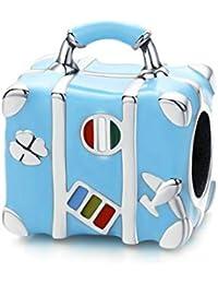 Gaorb Encantos, S925 Plata Maleta Azul de Bolas de Bricolaje a Mano Bricolaje Colgante de joyería de los Accesorios compatibles con Pandora y Pulseras de los Collares Europeos