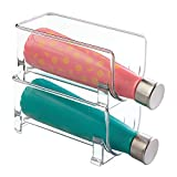mDesign Botellero de vino para guardar botellas de vino o botellas de agua - Botellero apilable ideal para armarios de cocina y encimeras - Set de 2 unidades en color transparente