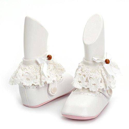 Pour 0-12 mois Bébé filles ,Transer ® Les filles mignonnes douces de semelle anti-dérapantes de raient des Sneaker Blanc