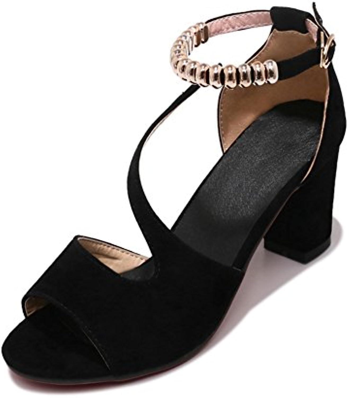 fa38f2b0cf1 Exing Womens s Shoes Shoes Shoes Korean Version High Heel Suede Fish Mouth  Sandals Ladies Metal Buckle Low Help Open Toe Shoes B07CCH15X1 Parent d7233a