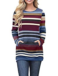 c4b103d153b5 Yieune Pullover Damen Langarmshirt Sweatshirt Casual Tunika mit Tasche  Gestreift Kapuzenpullis Bluse Sweater