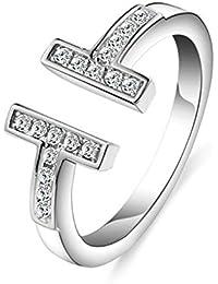 hanie ajustable anillo para mujer 925plata de ley T Forma de alianzas de abierto anillos anillos de compromiso con circonitas blanco Swarovski Elementos Cristal en el tamaño variable