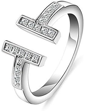 Hanie Verstellbar Ring für Damen 925 Sterling Silber T-Form Offen Trauringe Verlobungsringe mit Weiß Zirkonia...