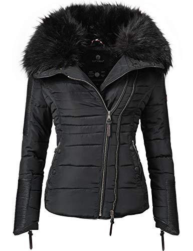 Navahoo Damen Jacke Winterjacke Steppjacke Yuki2 Schwarz Gr. XL (Rot Und Schwarz-mantel-frauen)