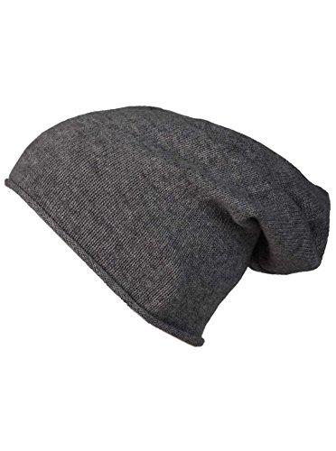 Cashmere Dreams Slouch-Beanie-Mütze mit Kaschmir - Hochwertige Strickmütze für Damen Mädchen Jungen - Hat - Unisex - One Size - warm und weich im Sommer Herbst und Winter Zwillingsherz (ant) (Jungen Strickmütze)