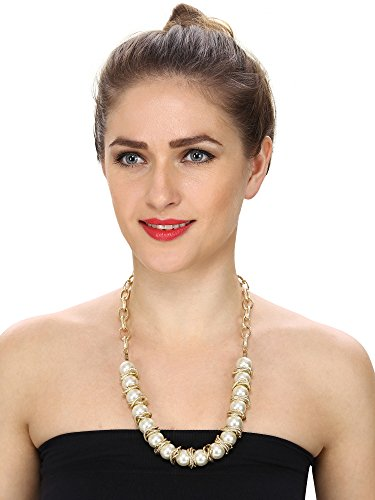 Aradhya Designer High Quality white and Golden Pearl necklace for Women and Girls
