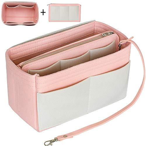 Yoillione Taschenorganizer Filz Organizer Tasche Innentasche Handtasche Organisator, Pink Bag in Bag Handtaschen Organizer Groß Bag Organizer für LV Speedy 40 Neverfull GM -