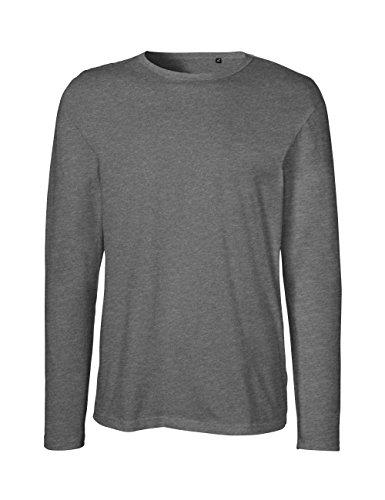 Green Cat- Herren Langarm T-Shirt, 100% Bio-Baumwolle. Fairtrade, Oeko-Tex und Ecolabel Zertifiziert, Textilfarbe: dunkelgrau, Gr.: L