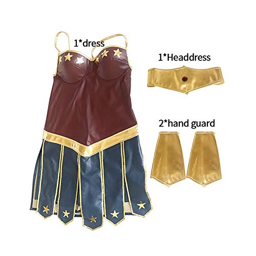 Costyle Leatherette Wonder Woman Cosplay Dress Halloween Costume for Adult Kids