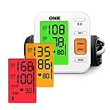 Tensiómetro Brazo Automático, OMK Monitor de Presión Arterial Preciso Con Brazalete 22-40cm, 2x120 Memorias, Pantalla Grande Con Retroiluminación Tricolor, Detección d'Arritmias