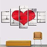zlxzlx (Nessuna Cornice) Modulare Poster5 Pezzi Stampa HD Cuori Rossi Quadri su Tela Wall Art Home Soggiorno Decorazione Quadri Moderni