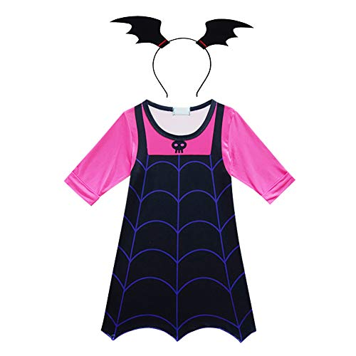 OwlFay Mädchen Vampirina Kostüm Kleid + Fledermausflügel + Ohr Stirnband Cartoon Cosplay Vampir Fledermaus Mädchen Halloween Kostüm Karneval Party Kleider Outfits Kleid + Stirnband 6-7 Jahre