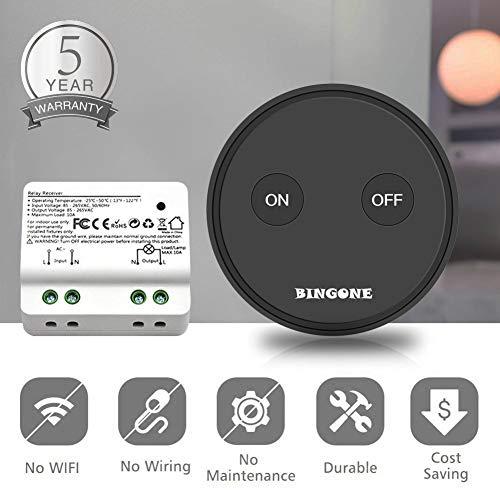 BINGONE Funkschalter Set Lichtschalter für LED-Licht,Tragbare oder Wand montierte schnurlose Fernbedienung EIN / AUS für Haushaltsgeräte, Transmitter + Empfänger (Schwarz)