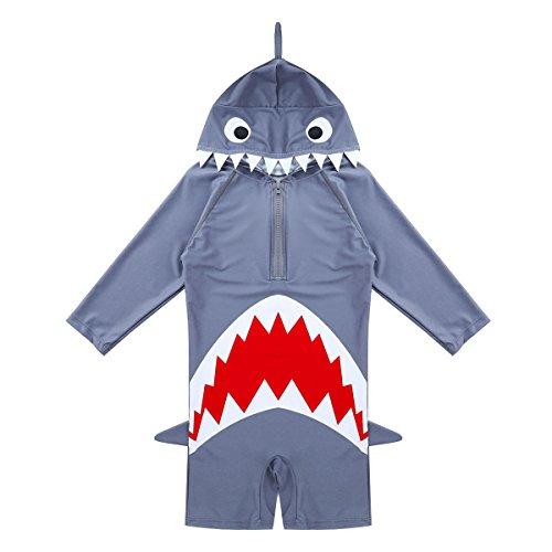en/Jungen Badeanzug UV-Schutz Einteiler Hai Schwimmanzug Langarm Bademode mit Kapuze Gr.92-134 Grau 116-122/6-7 Jahre (Jungen Hai-kostümen)