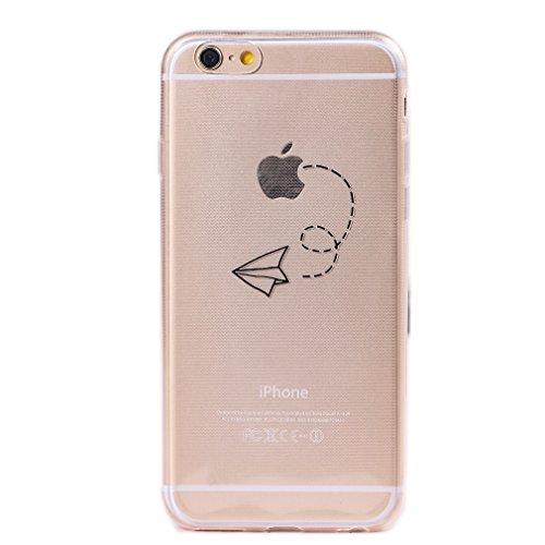 Keyihan iphone 6 / 6s cover custodia interessante divertente modello leggero sottile morbido trasparente chiaro tpu silicone protettiva caso per apple iphone 6/6s (aereo di carta)