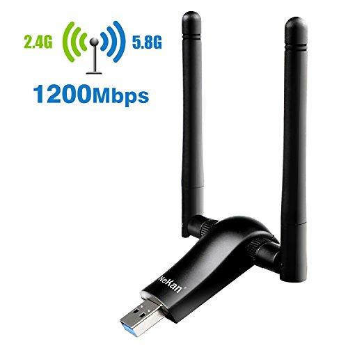 1200Mbps USB Wlan Stick NeKan Dualband (5.8G/867Mbps+2.4G/300Mbps) Wifi Adapter USB 3.0 Wifi Dongle für Windows XP/VISTA/7/8/8.1/10,Mac OSX,Linux