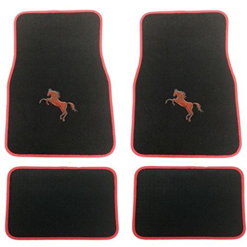 Pony Vorne und Hinten Schwarz Teppich Schutzmatten für Auto Suv Lkw (Rot 1) (Pony-teppiche)