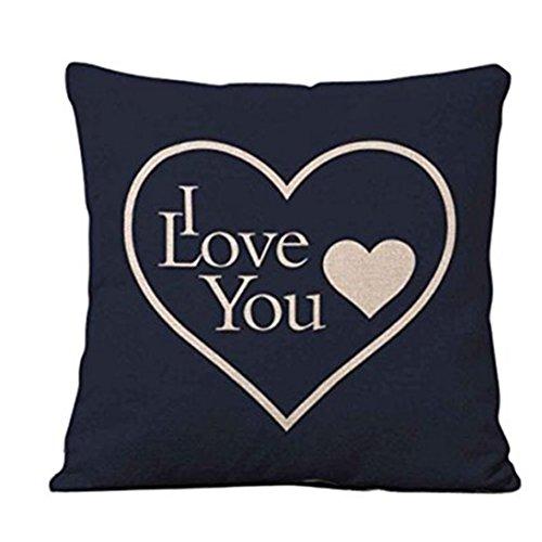 zhouba 18pulgadas carta de amor Impreso manta funda de almohada cama sofá cojín cuadrado cubierta decoración, Lino, # 2, talla única