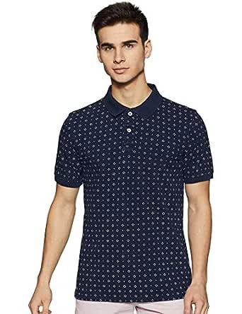 Amazon Brand - House & Shields Men's Striped Regular fit Polo (SS19-HSK-33_Iris Navy_L)
