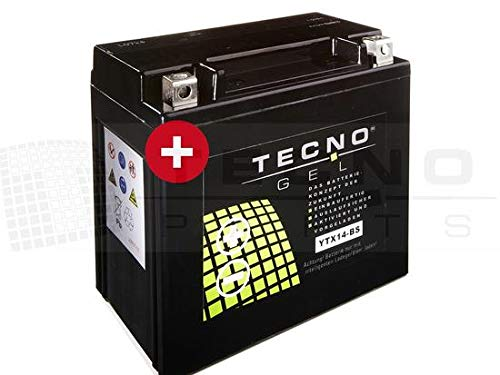 TECNO-GEL Motorrad-Batterie YTX14-BS, 12V Gel-Batterie 14Ah (DIN 51214), 151x87x145 mm inkl. Pfand