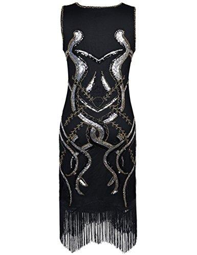 PrettyGuide Femmes 1920s Cru Sway Paillette Inspir¨¦ Charleston Flapper Robe Costume Argent