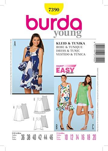 Burda B7390 Patron de Couture Robe et Tunique 19 x 13 cm