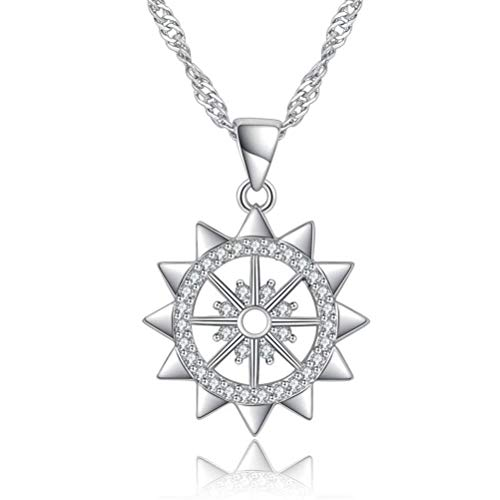 MingXinJia Zirkon Sun Flower Form Anhänger Platin Handmade Schmuck Halskette, Einzeltropfen + passende Kette