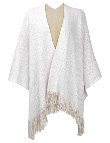 ZLYC Damen Herbst/Winter Weiche Schlichte Gestricktes Cashmere Poncho Capes Retro - Stil Cardigans Pullover Mantel mit Fransen