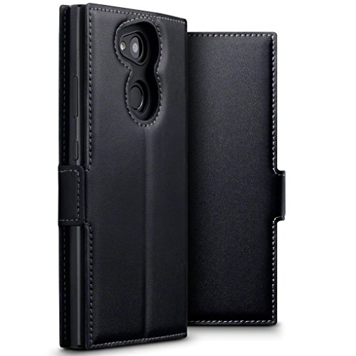 TERRAPIN, Kompatibel mit Sony Xperia L2 Hülle, ECHT Leder Börsen Tasche - Ultra Slim Fit - Betrachtungsstand - Kartenschlitze - Schwarz EINWEG