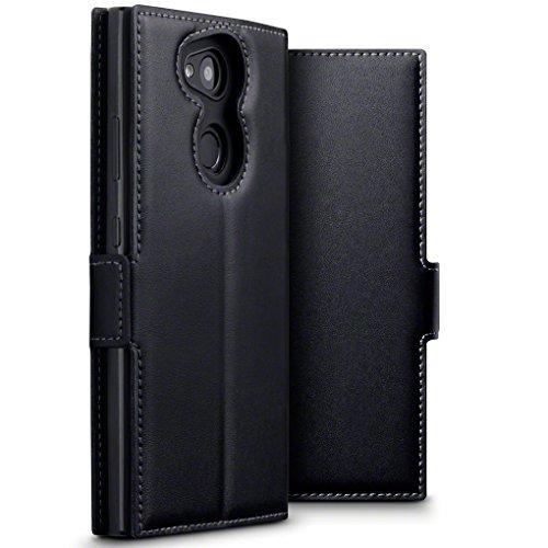 TERRAPIN, Kompatibel mit Sony Xperia L2 Hülle, ECHT Leder Börsen Tasche - Ultra Slim Fit - Betrachtungsstand - Kartenschlitze - Schwarz